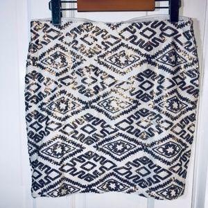 DYNAMITE Sequin Geo Print Skirt